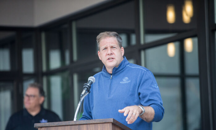 New Hampshire Gov. Christopher Sununu delivers remarks at a ribbon-cutting ceremony in Manchester, New Hampshire, on Sept. 2, 2020. (Scott Eisen/Getty Images for DraftKings)