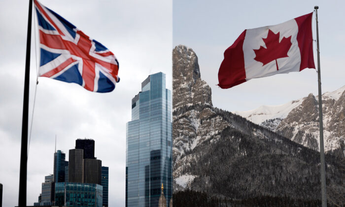 L: A Union Flag flutters in the wind near office buildings, in London on Nov. 25, 2020. (Tolga Akmen/AFP via Getty Images) R: The Canadian flag flies over the Canadian Rockies at the Canmore Nordic Center, in Canmore, Canada, on Feb. 7, 2019. (Don Emmert/AFP via Getty Images)