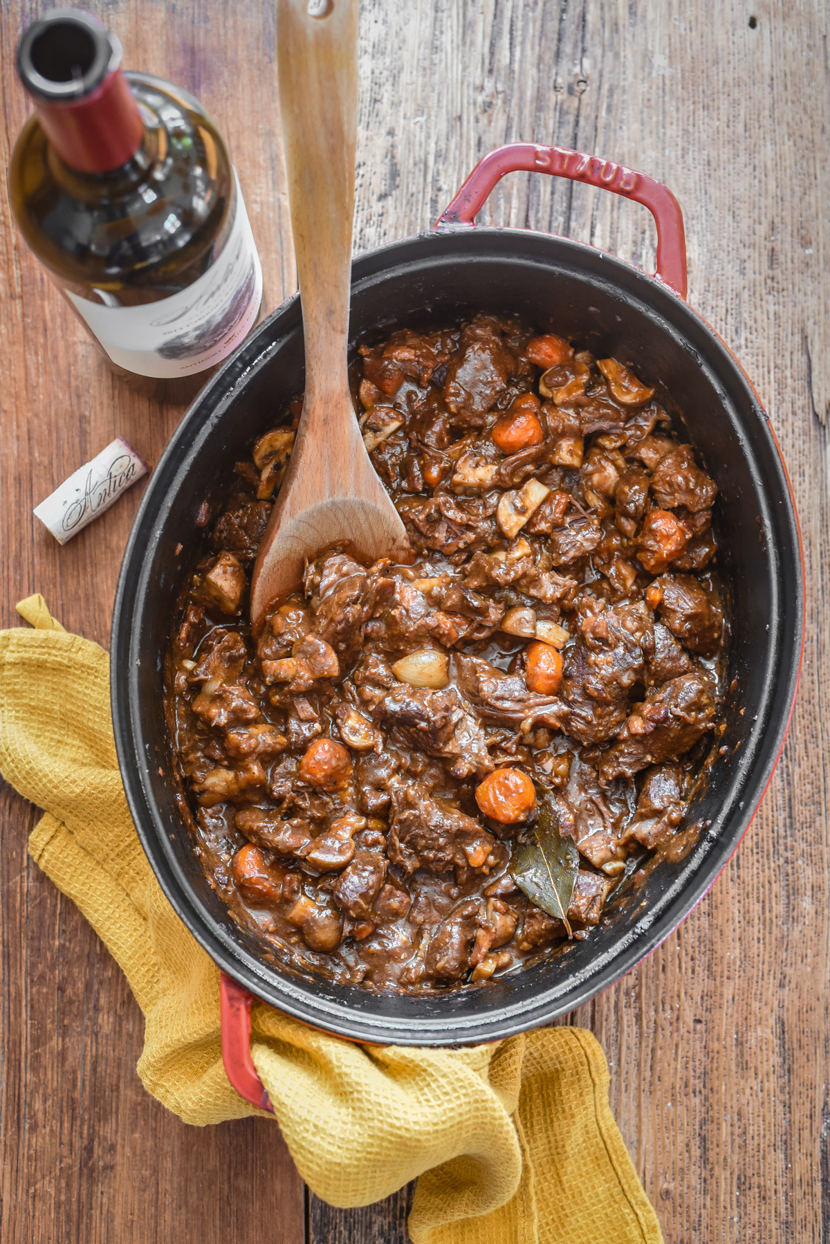 french Beef Bourguignon in pot