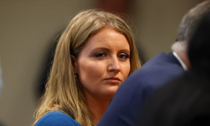 Jenna Ellis, a member of President Donald Trump's legal team, listens during a Michigan House Oversight Committee hearing in Lansing, Mich., on Dec. 2, 2020. (Rey Del Rio/Getty Images)