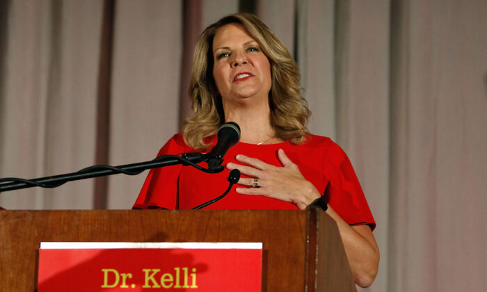 Then-Arizona GOP senate candidate Kelli Ward concedes the primary in a speech to supporters at an election night event in Scottsdale, Arizona, on Aug. 28, 2018. (Ralph Freso/Getty Images)