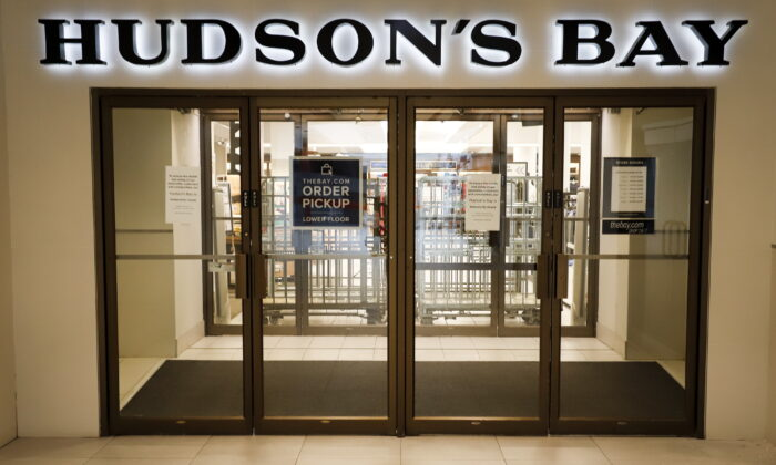 The Hudson's Bay in Calgary, Canada, on March 18, 2020. (Jeff McIntosh/The Canadian Press)