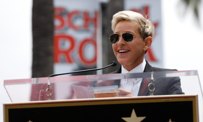 Ellen Degeneres speaks during the ceremony for the unveiling of the star for American boy band *NSYNC on the Hollywood Walk of Fame in Los Angeles, U.S. April 30, 2018. (Mario Anzuoni/Reuters File Photo)