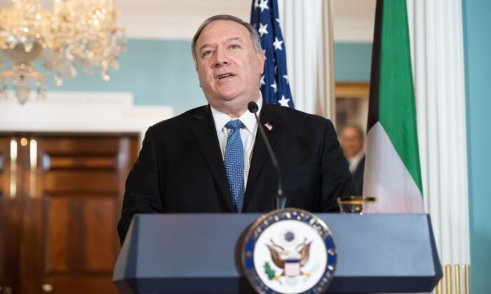 Secretary of State Mike Pompeo speaks to the press prior to meeting with the Kuwaiti Foreign Minister, at the State Department in Washington on Nov. 24, 2020. (Saul Loeb/Pool/AFP via Getty Images)