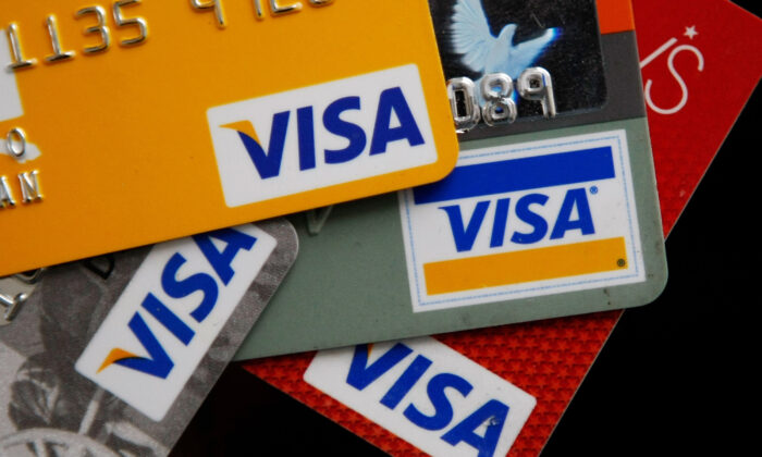 Cashless welfare cards by Visa. (Justin Sullivan/Getty Images)