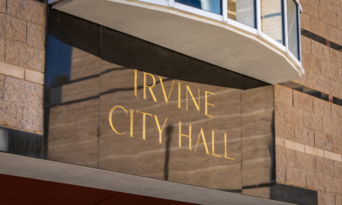 The Irvine City Hall and Civic Center building in Irvine, Calif., on Oct. 12, 2020. (John Fredricks/The Epoch Times)