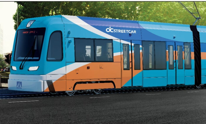 A rendering of the Orange County Transportation Authority's first streetcar, set to begin operation in 2022 between Santa Ana and Garden Grove, Calif. (Courtesy of the Orange County Transportation Authority)