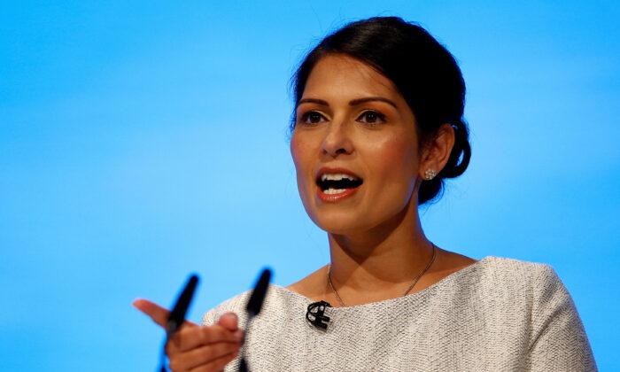 Britain's Home Secretary Priti Patel speaking on Oct. 1, 2019. (Henry Nicholls/Reuters)