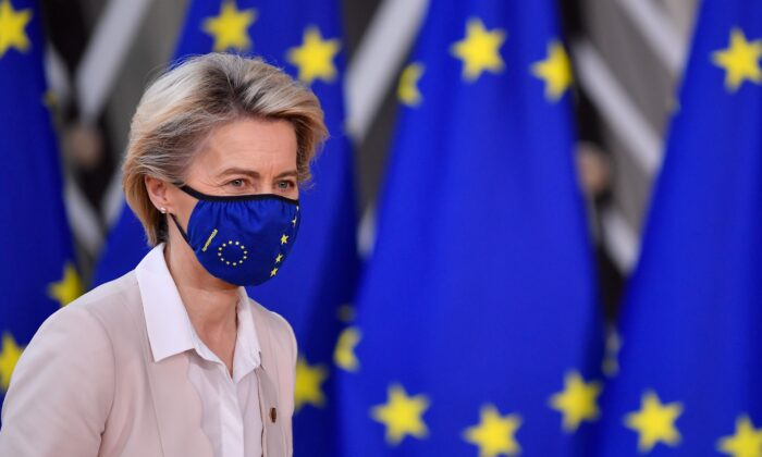 European Commission President Ursula von der Leyen arrives at the EU headquarters prior to an EU summit, in Brussels, on Dec. 10, 2020. (John Thys/Pool/AFP via Getty Images)