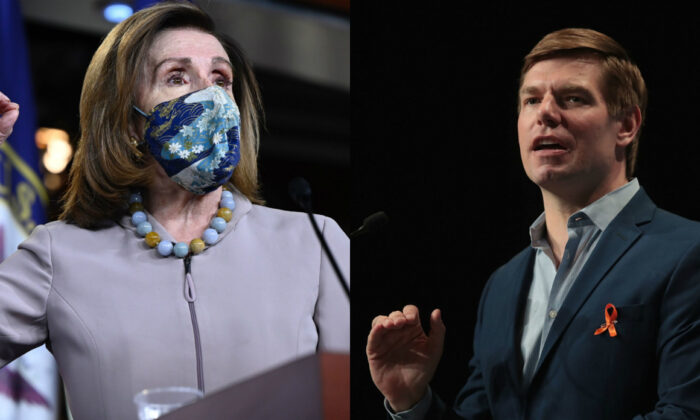 House Speaker Nancy Pelosi (D-Calif.) (L) speaks to reporters in Washington on Dec. 10, 2020. (R) Rep. Eric Swalwell (D-Calif.) in a 2019 file photograph. (Getty Images)