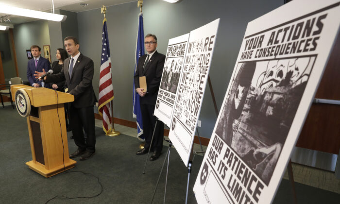 File photo showing FBI Special Agent Raymond Duda speaking at a news conference about charges against members of Atomwaffen Division, in Seattle, Wash. on Dec. 9, 2020. (Ted S. Warren/AP Photo, File)