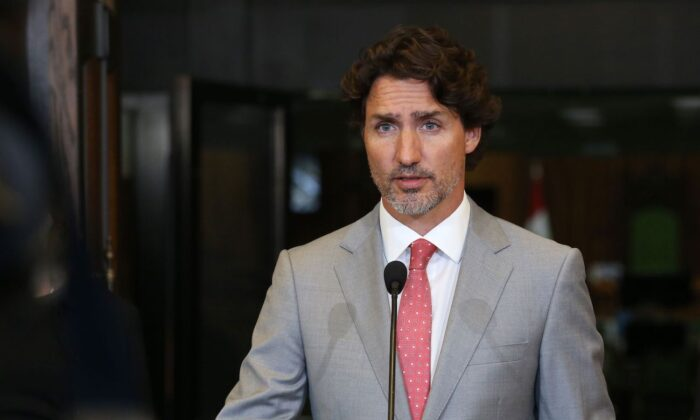 Canada's Prime Minister Justin Trudeau speaks during a news conference on Parliament Hill in Ottawa, Canada, on Aug. 18, 2020. (Dave Chan/AFP via Getty Images)