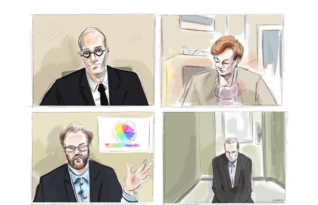 Crown attorney Joe Callaghan, clockwise from top left, Justice Anne Molloy, accused in the April 2018 Toronto van attack Alex Minsassian and Dr. Alexander Westphal are shown during a murder trial conducted via Zoom videoconference, in this courtroom sketch on Nov. 30, 2020. (The Canadian Press/Alexandra Newbould)
