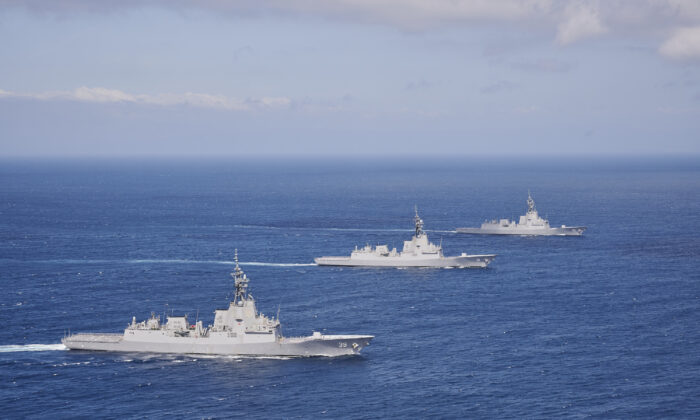 HMA Ships Hobart, Brisbane and Sydney sail in formation through the the Eastern Australian Exercise Area off the coast of New South Wales. (Peter Beeh/ADF)