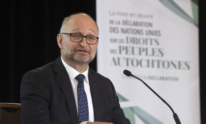 Justice Minister David Lametti makes an announcement about the United Nations Declaration on the Rights of Indigenous Peoples in Ottawa on Dec. 3, 2020. (The Canadian Press/Adrian Wyld)