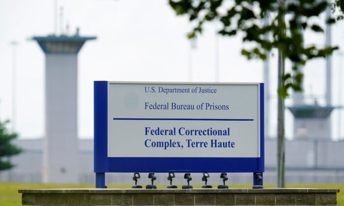 FILE - This Aug. 28, 2020, file photo shows the federal prison complex in Terre Haute, Ind.  (Michael Conroy/AP Photo/File)