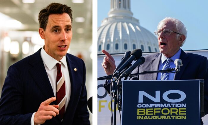 Sen. Josh Hawley (R-Mo.) makes a statement after voting in the Judiciary Committee on Oct. 22, 2020 in Washington. (Samuel Corum/Getty Images); Sen. Bernie Sanders (I-Vt.) speaks at a protest calling for the Republican Senate to delay the confirmation of Supreme Court Justice Nominee Amy Coney Barrett at the U.S. Capitol on Oct. 22, 2020 in Washington. (Jemal Countess/Getty Images for Care In Action)