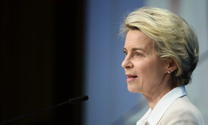 European Commission President Ursula von der Leyen gives a press conference at the end of an EU summit at the European Council building in Brussels, on Dec. 11, 2020. (Johanna Geron/Pool/AFP via Getty Images)