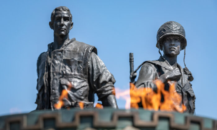 A Vietnam War memorial stands in Sid Goldstein Freedom Park in Westminster, Calif., on Sept. 3, 2020. Westminster is considering adding another memorial in the park. (John Fredricks/The Epoch Times)