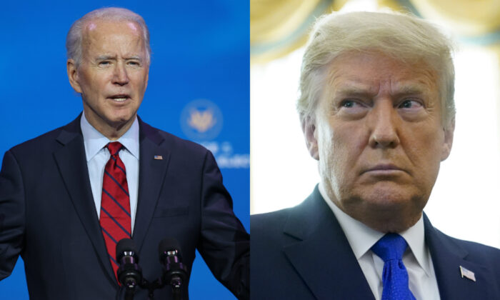 Democratic presidential nominee Joe Biden (L) and President Donald Trump in file photographs. (Getty Images; AP Photo)
