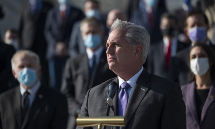 House Minority Leader Kevin McCarth (R-Calif.) speaks during a press conference on the steps of the US Capitol in Washington, on Dec. 10, 2020. (Andrew Caballero-Reynolds/AFP via Getty Images)