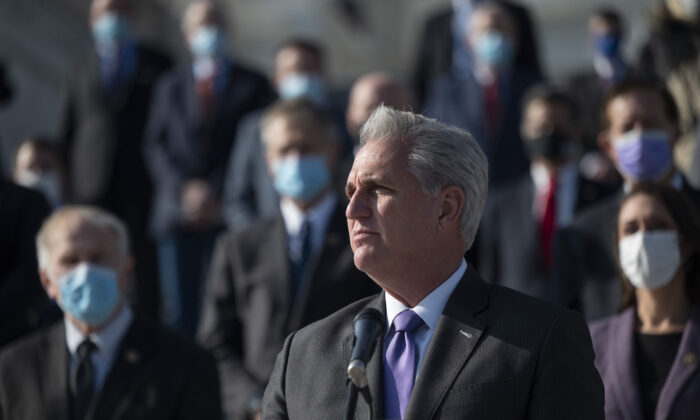 House Minority Leader Kevin McCarthy (R-Calif.) speaks during a press conference on the steps of the U.S. Capitol in Washington, on Dec. 10, 2020. (Andrew Caballero-Reynolds/AFP via Getty Images)