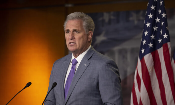 House Minority Leader Kevin McCarthy (R-Calif.) speaks at a news conference on Capitol Hill in Washington on Dec. 3, 2020. (Tasos Katopodis/Getty Images)