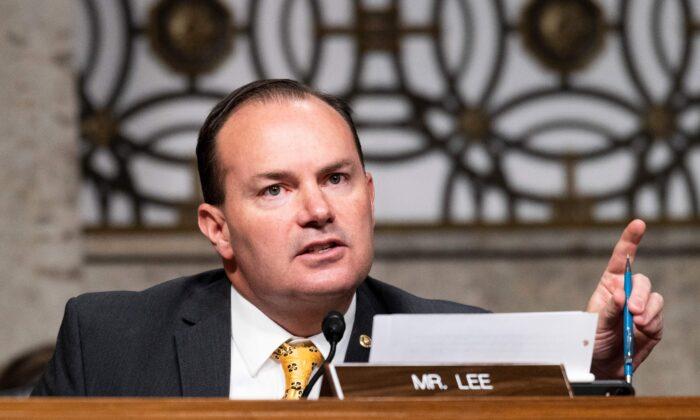 Sen. Mike Lee (R-Utah) speaks during a hearing in Washington on Nov. 17, 2020. (Bill Clark/Pool/AFP via Getty Images)