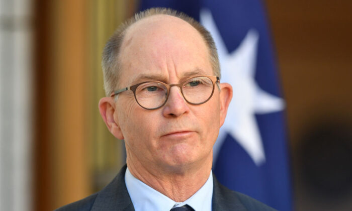 Acting Chief Medical Officer Paul Kelly during a press conference in the Prime Ministers Courtyard at Parliament House in Canberra, Australia, on July 24, 2020. (Sam Mooy/Getty Images)