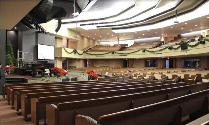 The inside of Calvary Chapel San Jose, Calif., on Dec. 8, 2020. (David Lam/The Epoch Times)