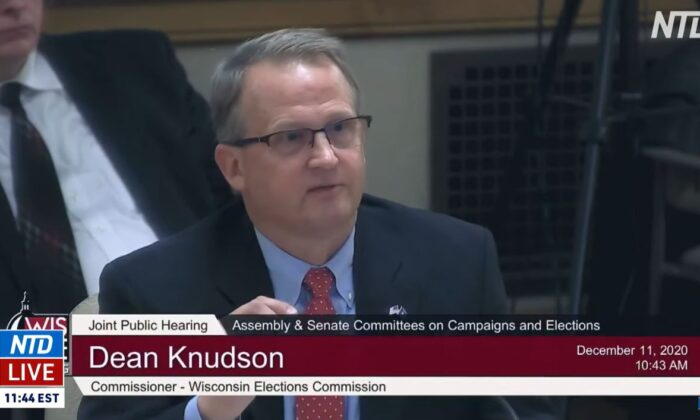 In this screenshot from video, Wisconsin Elections Commissioner Dean Knudson testifies to a state legislative committee hearing, in Madison, Wis., on Dec. 11, 2020. (NTD Television)