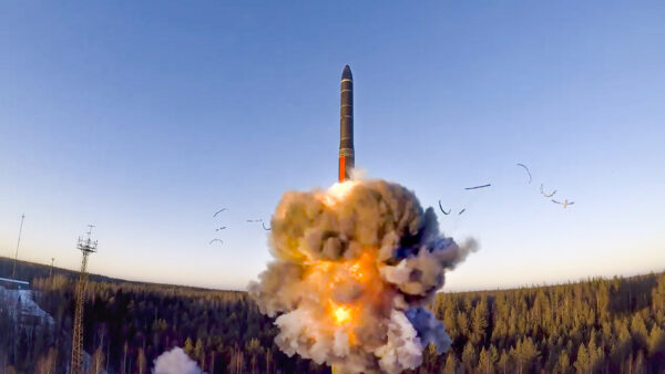 Russian a rocket launches from missile system
