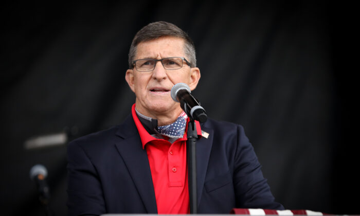 """Former national security adviser Lt. Gen. Michael Flynn (Ret.) speaks at the """"Let the Church ROAR"""" National Prayer Rally on the National Mall in Washington on Dec. 12, 2020. (Samira Bouaou/The Epoch Times)"""