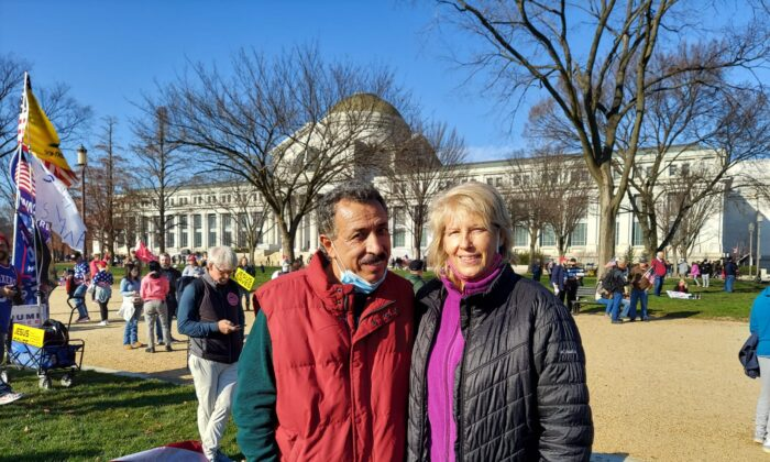 Lisa Stancik and her husband Abel Arias joined a protest in Washington on Dec. 12, 2020, calling for fair and transparent elections. (Charles Lu/The Epoch Times)