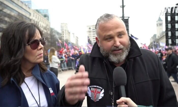 """Pastor Brian Gibson and Dr. Janet lead (L) are in the interview with The Epoch Times in the """"Stop the Steal"""" rally in Washington D.C. on Dec. 12, 2020. (screenshot of NTD's  video)"""