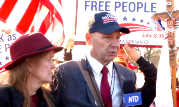 Pennsylvania State Sen. Doug Mastriano speaks to an NTD reporter at a rally in Washington on Dec. 12, 2020. (Screenshot/NTD)