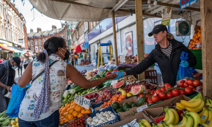 A fruit and vegetable stall trades at Brixton market in London, on June 1, 2020. (Dan Kitwood/Getty Images)