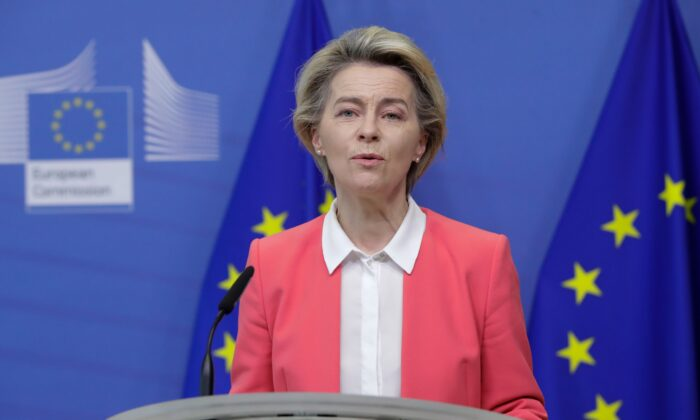 European Commission President Ursula von der Leyen gives a press statement following a phone call with Britain's Prime Minister Boris Johnson, at the European Commission in Brussels, on Dec. 13, 2020. (Olivier Hoslet/Pool/AFP via Getty Images)