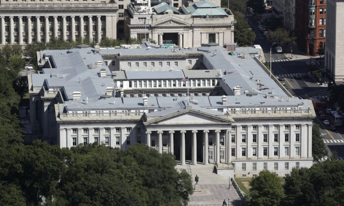 The U.S. Treasury Department building viewed from the Washington Monument in Washington on Sept. 18, 2019. (Patrick Semansky/AP Photo)