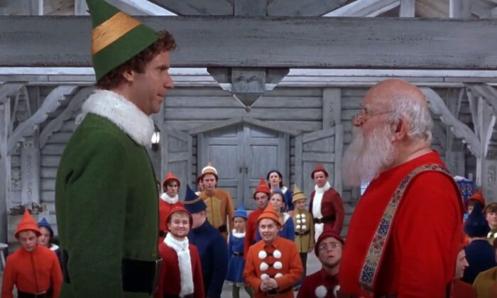 "Big ""elf' Buddy  (Will Ferrell, L) and Santa (Ed Asner) in ""Elf."" (New Line Cinema)"