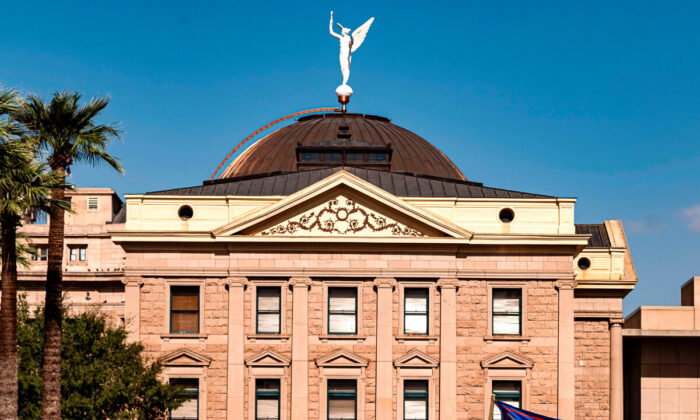 The Arizona State Capitol in Phoenix, Ariz., on Nov. 7, 2020. (Olivier Touron/AFP via Getty Images)