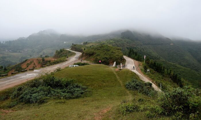 A general view of the mountainous border in Meo Vac, joining Vietnam's Ha Giang Province (L) and China (R) on Oct. 28, 2018. (NHAC NGUYEN/AFP via Getty Images)