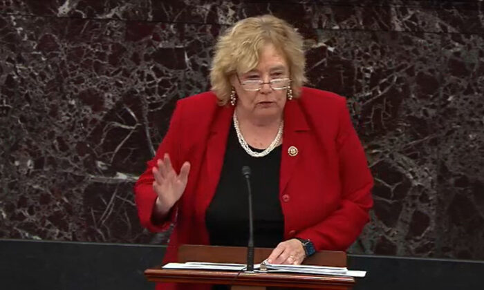 Rep. Zoe Lofgren (D-Calif) speaks in the U.S. Capitol in Washington on Jan. 22, 2020. (Senate Television via Getty Images)