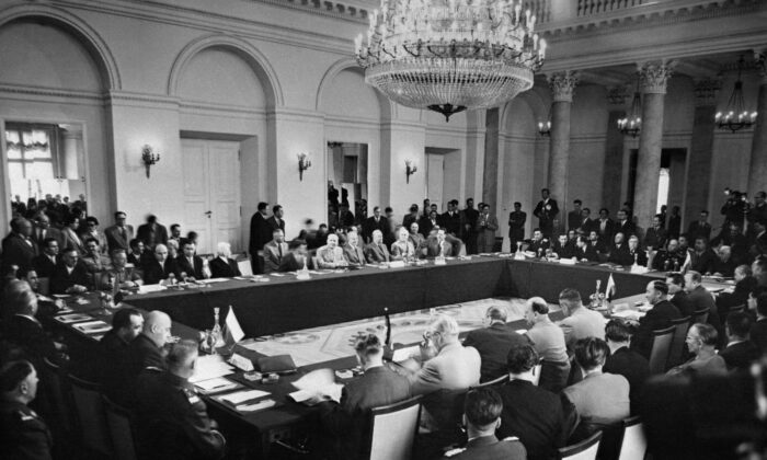 A picture released on May 13, 1955 shows a general view of the Communist Bloc Conclave bringing together the eight East European countries prior to the signature of the mutual defense Treaty of Friendship, Cooperation and Mutual Assistance (commonly known as the Warsaw Pact). (AFP via Getty Images)