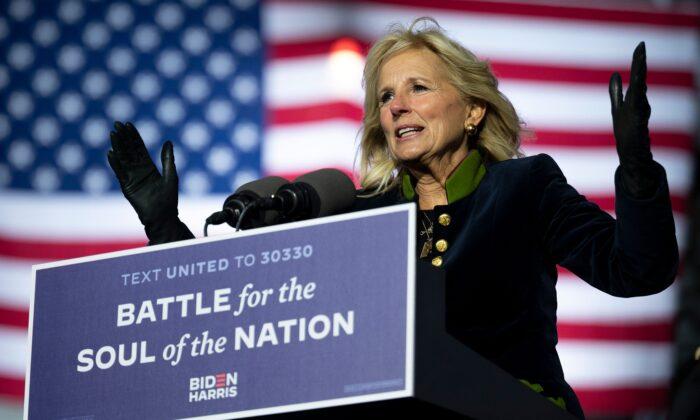 Jill Biden speaks at a rally at Heinz Field in Pittsburgh, Penn., on Nov. 2, 2020. (Jim Watson/AFP/Getty Images)