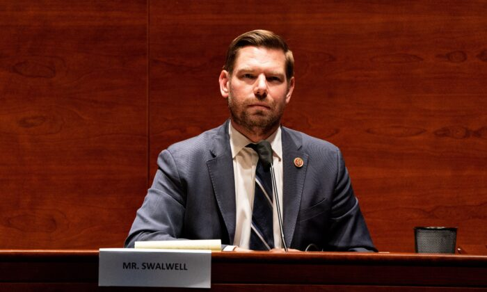 Rep. Eric Swalwell (D-CA) listens during the House Judiciary committee hearing on Capitol Hill in Washington, D,C., on June 24, 2020. (Anna Moneymaker/POOL/AFP via Getty Images)