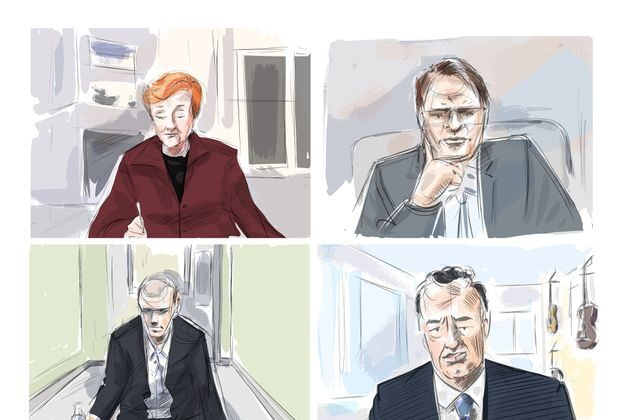 Justice Anne Molloy, from top (L), John Rinaldi, Dr. Scott Woodside and accused Alek Minsassian are shown during a murder trial conducted via Zoom videoconference in this courtroom sketch on Friday, Dec. 11, 2020. (The Canadian Press/Alexandra Newbould)