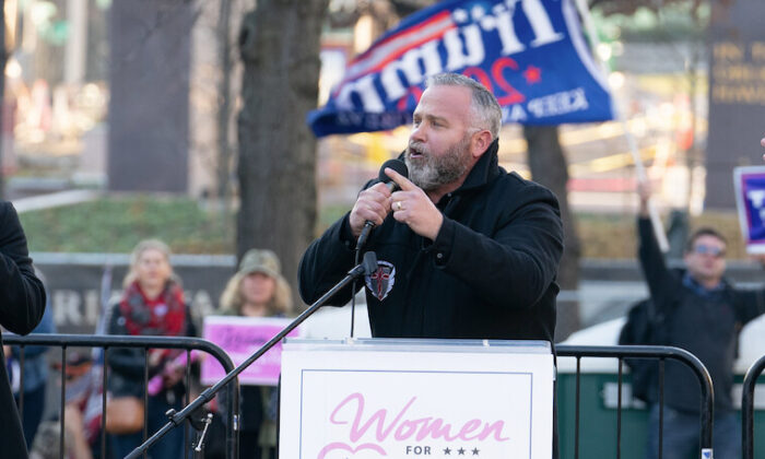 Pastor Brian Gibson speaks about protecting First Amendment rights at Freedom Plaza in Washington on Dec. 12, 2020. (Leo Shi/The Epoch Times)
