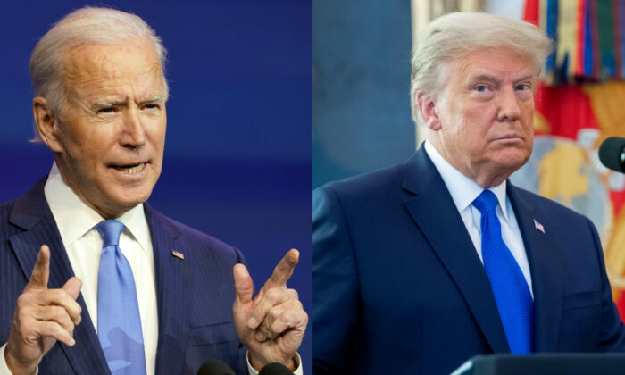 President Joe Biden, left, and former President Donald Trump in file photographs. (AP Photo; Getty Images)