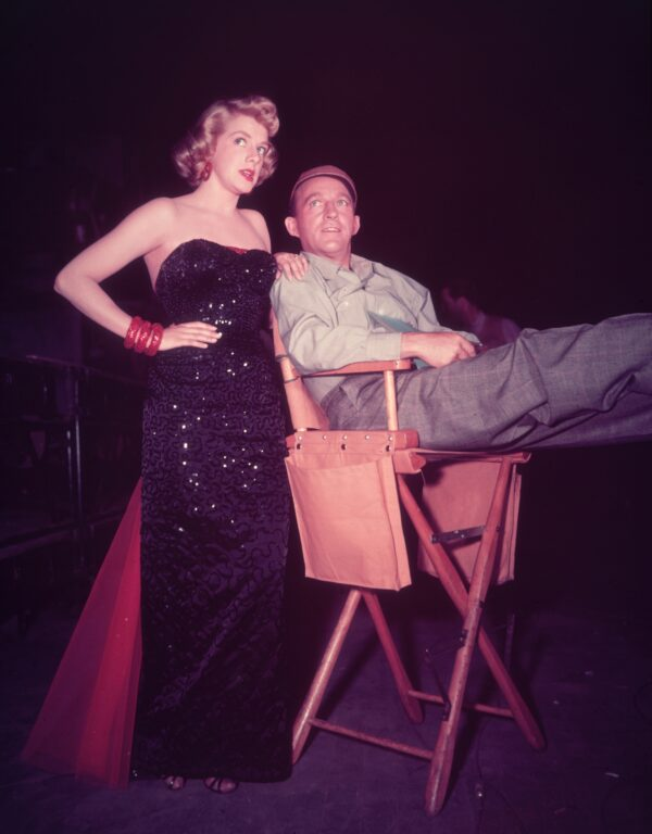 Rosemary Clooney and Bing Crosby on set for White Christmas